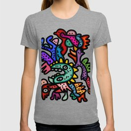 Cool Aztec Creatures Street Art  T-shirt