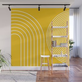 Geometric Lines in Mustard Yellow 3 (Rainbow abstract) Wall Mural