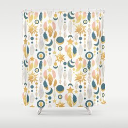 Bohemian spirit IV // white background salmon pink & gold feathers Shower Curtain