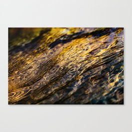 River Ripples in Yellow Gold and Brown Canvas Print