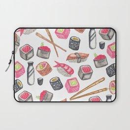 Cute Trendy Watercolor Sushi Sake and Chopsticks Laptop Sleeve