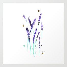 Lavender & Bees Art Print