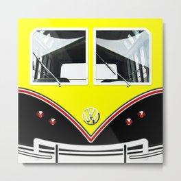 Yellow Art Cute minibus Metal Print