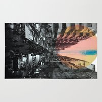 hong kong Area & Throw Rugs featuring Hong Kong Streets by jennymadeleine