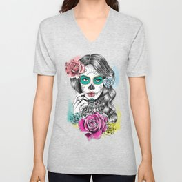 Aaliyah - Day of the Dead Unisex V-Neck