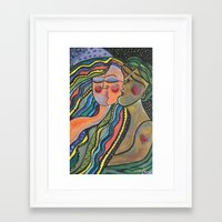 lovers Framed Art Prints featuring lovers by sladja