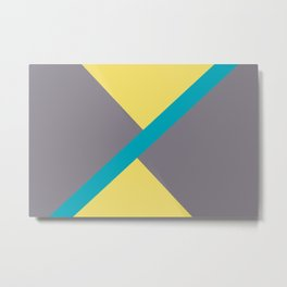 Blue-Green Yellow Gray Diagonal Shape Pattern 2021 Color of the Year AI Aqua 098-59-30 Metal Print
