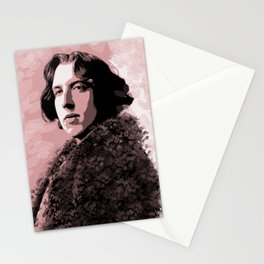 Portrait of Oscar Wilde in pink Stationery Cards