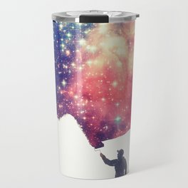 Painting the universe (Colorful Negative Space Art) Travel Mug