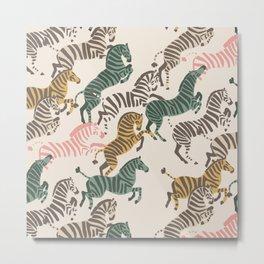 Zebra Stampede Metal Print