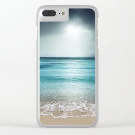Stormy Beach Clear iPhone Case