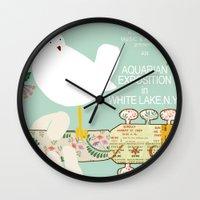 woodstock Wall Clocks featuring Woodstock Birdie Collage Print by Claudia Schoen