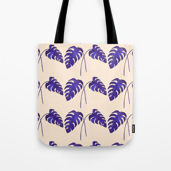 Indigo Monstera Leaf Watercolor on Blush Tote Bag