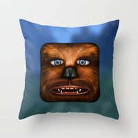 chewbacca Throw Pillows featuring Chewbacca by Michael Flarup