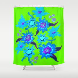 Neon Sky Blue Blooms Shower Curtain