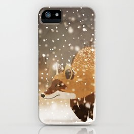 Sneaky smart fox in snowy forest winter snowflakes drawing iPhone Case