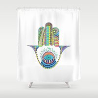 hamsa Shower Curtains featuring HAMSA by Heaven7