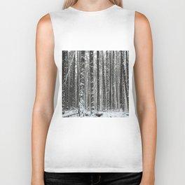 White trees-winter forest Biker Tank