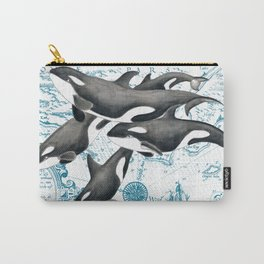 Orca Whales Family Blue Vintage Map Carry-All Pouch