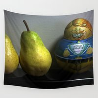 pear Wall Tapestries featuring World's Greatest Pear Shape  by oneofacard