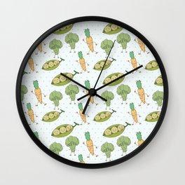Cute funny greens orange blue polka dots vegetables Wall Clock
