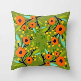 Leta Floral in Olive Green - Vintage Retro Flowers - Digital Painting Throw Pillow