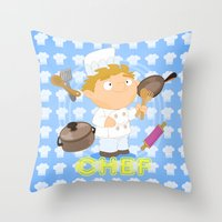 chef Throw Pillows featuring Chef by Alapapaju