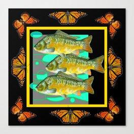 MODERN  MONARCH BUTTERFLIES FISH BLACK  AQUATIC  COLLAGE Canvas Print