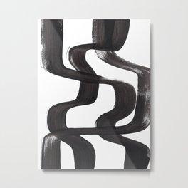 Black And White Minimalist Mid Century Abstract Ink Art Ripple Maze Lines Retro Style Metal Print