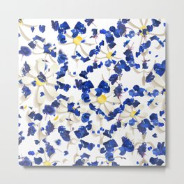 white daisies and blue cyclamens floral pattern Metal Print