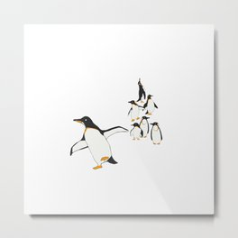 Penguin Party _ Walk This Way Metal Print