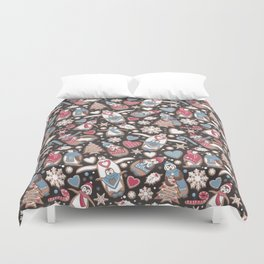 Penguin Christmas gingerbread biscuits Duvet Cover