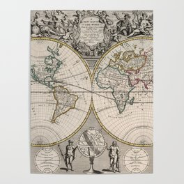 Vintage Map of The World (1721) Poster