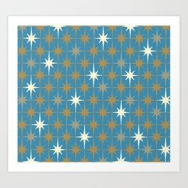 Atomic Age Retro Starburst Mid-century Modern Pattern in Burnished Gold, Taupe, Cream, and 50s Blue Art Print