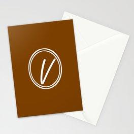 Monogram - Letter V on Chocolate Brown Background Stationery Cards