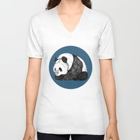pandas V-neck T-shirts featuring Pandas by Diana Hope