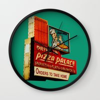 pizza Wall Clocks featuring Pizza by Hazel Bellhop