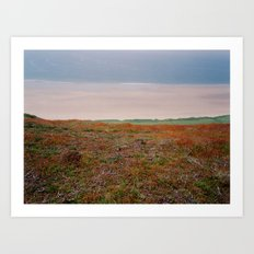 View from cliffs above Rhossili Bay, Wales Art Print