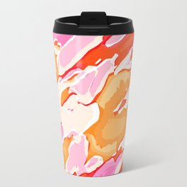 orange brown and pink camouflage graffiti painting abstract background Travel Mug