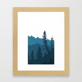 Tree Gradient Blue Framed Art Print
