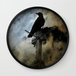 Stormy Clouds And Crow Wall Clock