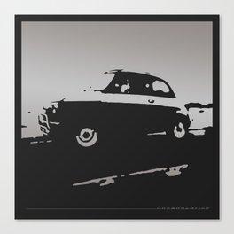 Fiat 500 classic, Gray on Black Canvas Print