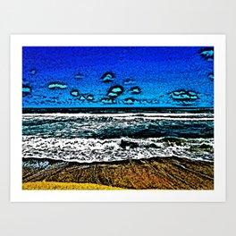 Ocean, Sky, Beach, and Sand Art Print