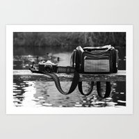 backpack Art Prints featuring Camera and Backpack  by Giulia Photos