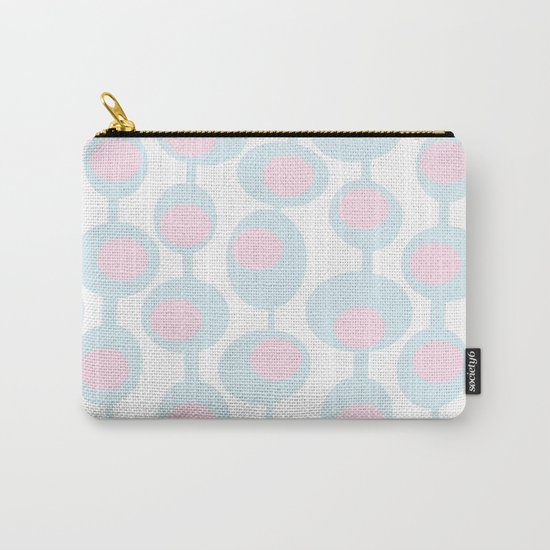 abstract 60ies circles and dots pattern in pink, white and aqua Carry-All Pouch