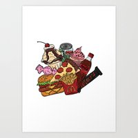 junk food Art Prints featuring Junk Food by gem ☮