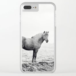 Horse in Icelandic Landscape Photograph Clear iPhone Case