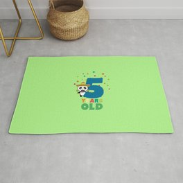 Five Years fifth Birthday Party Panda Dbknv Rug