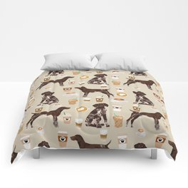 German Shorthair Pointer dog breed custom pet portrait coffee lover pet friendly gifts Comforters