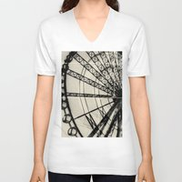 ferris wheel V-neck T-shirts featuring Ferris Wheel by Phoenix Prints